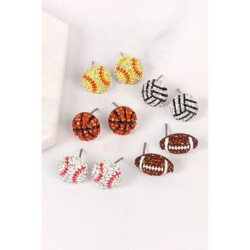 SPORTS CHARM STUD EARRINGS