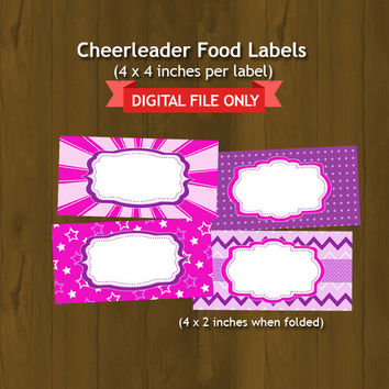 Cheerleader Printable Food labels - Cheerleader Pink Purple Food Tent - INSTANT DOWNLOAD