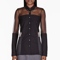 Christopher Kane Black Sheer Panelled Blouse