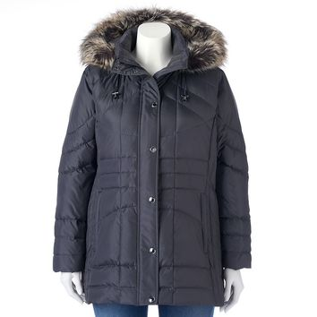 Towne by London Fog Hooded Down Quilted Puffer Jacket - Women's Plus Size, Size: