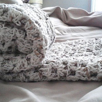 "Off White and Brown Bamboo Granny Square Baby Blanket 30"" x 30"" READY to SHIP"