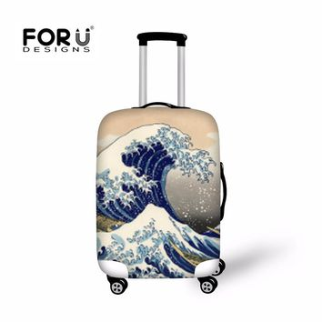 "FORUDESIGNS elastic suitcase protective covers for 18""-30'' travel luggage case waterproof waves printed cover dust proof cover"