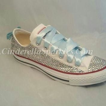 9c33752fbca6 CREYON white chuck taylor low crystal rhinestone converse with sequin bow  bridal prom roman