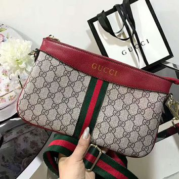 Gucci More Print Stripe Contrast Women Leather Shoulder Bag Satchel B-AGG-CZDL Red