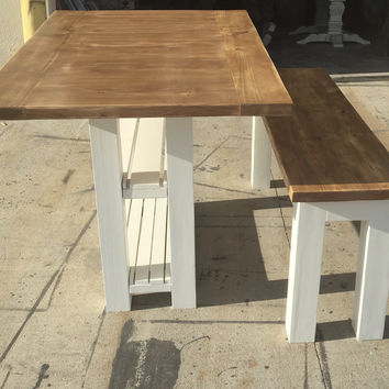 Small Kitchen Island with Storage and Matching Bench