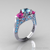Modern 10K White Gold Three Stone Blue Topaz Pink Sapphire Solitaire Engagement Ring, Wedding Ring R250-10KWGPSBT