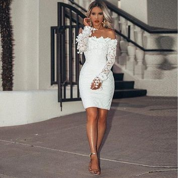 Women Party Dress Long Sleeve White Lace Midi Dress Sexy Bodycon Off Shoulder Elegant Floral Mini Dresses Vestidos De Fiesta