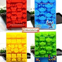 Disney Silicone Muffin Baking Pan Dessert Candy Jelly Cookie Mold Ice Cube Tray