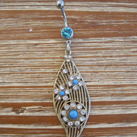 Belly Button Ring - Body Jewelry - Gold Leaf with Lt Blue Gem Belly Button Ring