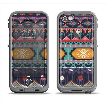 The Vector Purple and Colored Aztec pattern V4 Apple iPhone 5c LifeProof Fre Case Skin Set