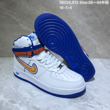 DCCK2 N748 Nike Air Force 1 AF1 Velcro USA Hihgt Leather Casual Skate Shoes White Blue Orange