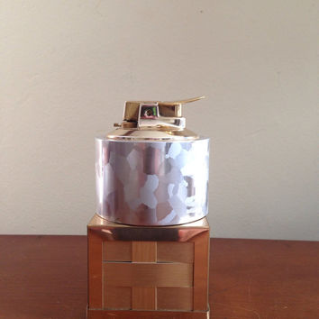 Ronson luralite table lighter with woven brass stand 1950s-1960s