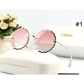 Chloe tide brand female frameless polygon large frame color film polarized sunglasses #1