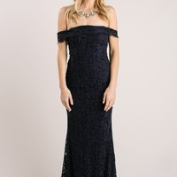 Delilah Navy Off the Shoulder Lace Maxi Dress