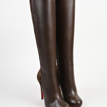 DCCK2 Brown Christian Louboutin Leather Acheval 100 Tall Boots