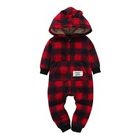 Kid boys Long Sleeve Hooded Fleece jumpsuit red plaid casual style Newborn Boy winter one piece clothes