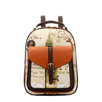 High Quality Pu Leather Backpack School Bags For Teenagers Girl Small School Backpacks Stacy Bag Women Vintage College Santoro