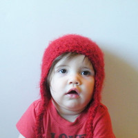 Fuzzy Crochet Earflap Beanie Hat in deep red, infants 12-18 months, ready to ship.