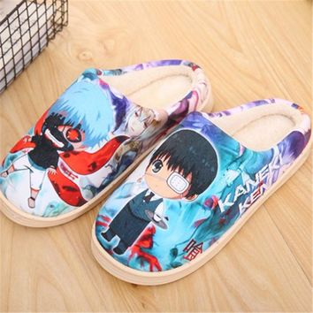 Naruto Sasauke ninja 23 Types  Lot Japan Anime Slippers Tokyo Ghoul Kaneki Ken Cosplay Shoes Game OW  Winter Soft Plush Slipper Indoor AT_81_8