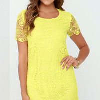 Feelin' Fine Yellow Lace Shift Dress