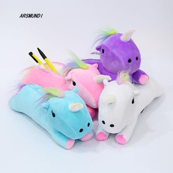30cm Plush Unicorn Pencil Case School Supplies Stationery Gift Students Cute Cat Pencil Box Pencilcase Pencil Bag School Toy