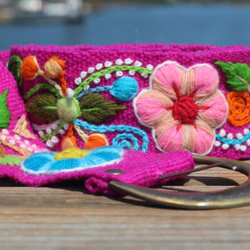 "Magenta Hand Embroidered Wool Belt from Peru, Flowers and Leaves, Size Medium (Waist 33-41""), 100% Wool, Free shipping to US!"