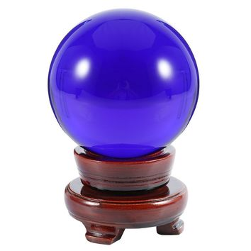 "HanLingGG Blue Crystal Ball 3.15"" / 80MM Photography Meditation Divination Healing Ball Glass Sphere Display for Family Decorative, Fortune Telling with Wooden Stand"