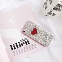 Valentine's Day Gift! Sparkling Love Heart Case for Apple iPhone7 7plus 6 6s 6splus Luxury glitter Bling Case For iPhone7 -0325