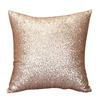 Usstore Solid Color Glitter Sequins Pillowslip Cushion Cover Case Home Decor (F)