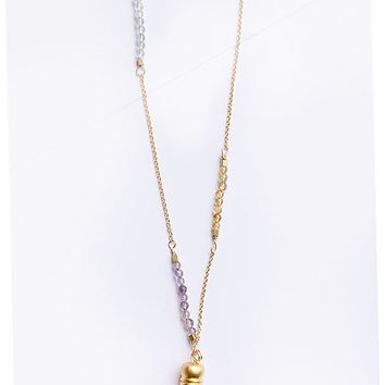 Long Gold Tassel Necklace with Amethyst, Citrin, Peridot Stones and Raw Brass Settings Bohemian