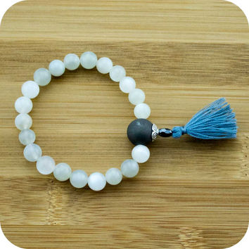 Moonstone Mala Beads Bracelet with Matte Black Onyx