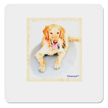 "Laying Retriever Watercolor 4x4"" Square Sticker"