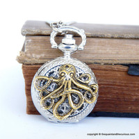 Octopus Pocket Watch Locket Necklace  Silver by QuaintandCurious