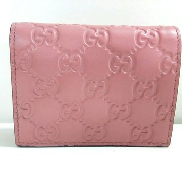 Gucci Signature GG Continental Flap Card Case Wallet Leather Pink Calf Rose Baby 410120
