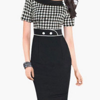 Black Houndstooth Print Short Sleeve Bodycon Midi Dress