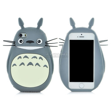 New Arrival Cute 3D Cartoon Totoro Cover Case For iphone 5 Soft Silicon Material Back Cover for Iphnone 5 5s