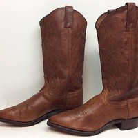 VTG WOMENS DAN POST COWBOY LEATHER BROWN BOOTS SIZE 8.5 M