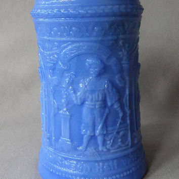 Fenton Blue Stein, Vintage Ornate Mug Slag Glass / Milk Glass Embossed EAPG Art Glass