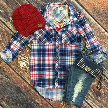 What I like about you Plaid Flannel Top: Royal/Red