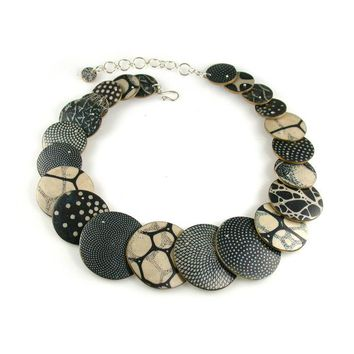 Big D Polymer Clay Black and Ivory Statement Necklace