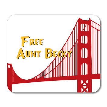 """DistinctInk Custom Foam Rubber Mouse Pad - 1/4"""" Thick - FREE AUNT BECKY - White Background"""
