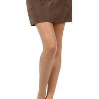 Lace Up Suede Skirt - Brown