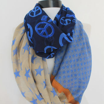 boho blue star-peace scarf,infinity scarf, scarf, scarves, long scarf, loop scarf, gift