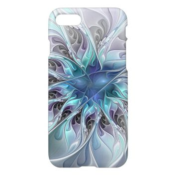Flourish Abstract Modern Fractal Flower With Blue iPhone 7 Case