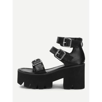 Buckle Detail Strappy Platform Wedges