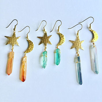 Moon And Star Quartz Crystal Earrings Asymmetric Celestial Space Sun Mismatched Asymmetrical Hammered Brass Orange Rainbow Aqua Aura Jewelry