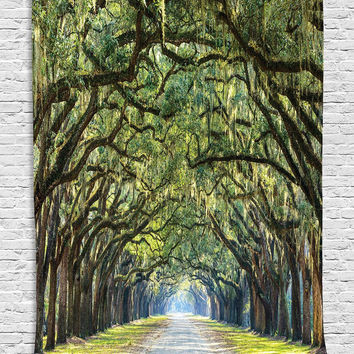 Tapestry Forest Way Long Leaves Real Tree Photograph Printed Modern Art Home Wall Decoration Wall Hanging Nature Theme Silky Satin Fabric, Green Brown Lime