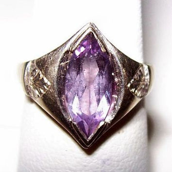 Alexandrite Ring 14K White Gold 3.5 ct Color Change Blue Red Marquise Ladies Sz 5 1950s Vintage