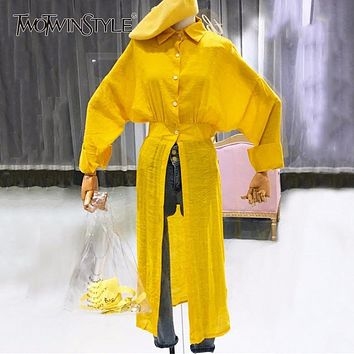 TWOTWINSTYLE Split Long Shirt Female Batwing Sleeve Tunic High Waist Oversize Blouse Top Women Spring Casual Korean Clothes