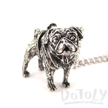 3D Lifelike Pug Shaped Animal Pendant Necklace | Jewelry for Dog Lovers